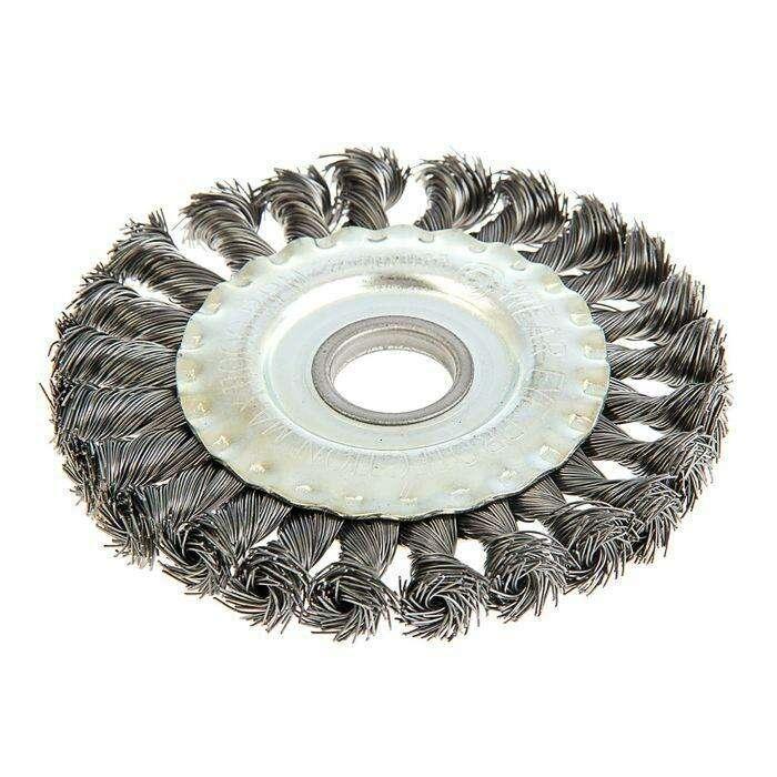 Щетка металлическая для УШМ TUNDRA basic, крученая проволока, плоская, 22 мм, 125 мм