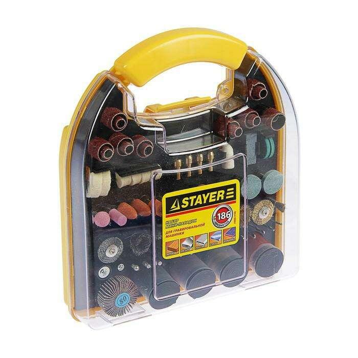 Набор мини-насадок STAYER Master, для гравировальных машин, 186 предметов, пластиковый кейс
