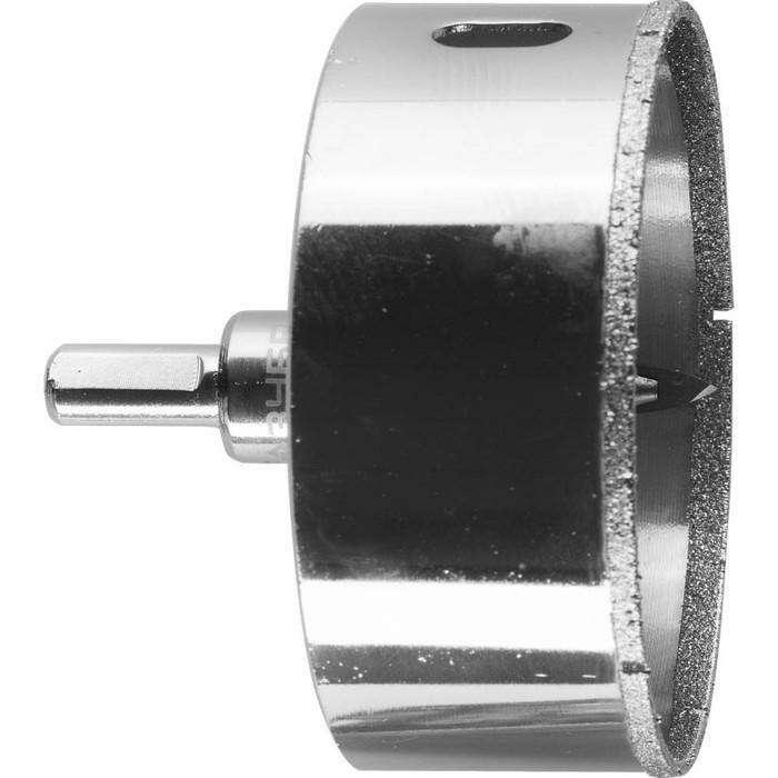Коронка алмазная ЗУБР 29850-80, по кафелю и стеклу, d=80 мм, Р60, центрирующее сверло