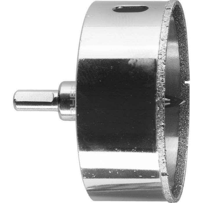 Коронка алмазная ЗУБР 29850-83, по кафелю и стеклу, d=83 мм, Р60, в сборе со сверлом
