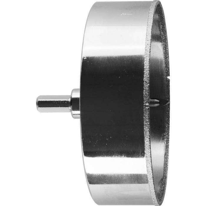 Коронка алмазная ЗУБР 29850-115, по кафелю и стеклу, d=115мм,зерно Р60,центрирующее сверло