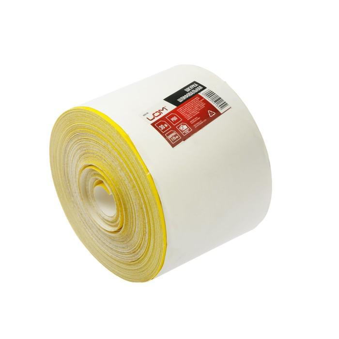 Шкурка шлифовальная в мини-рулонах LOM, на бумажной основе, 115мм х 30м, Р60