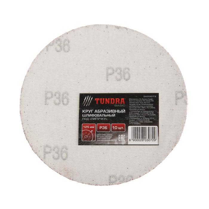 Круг абразивный шлифовальный под липучку TUNDRA basic, 125 мм, Р36, 10 шт.