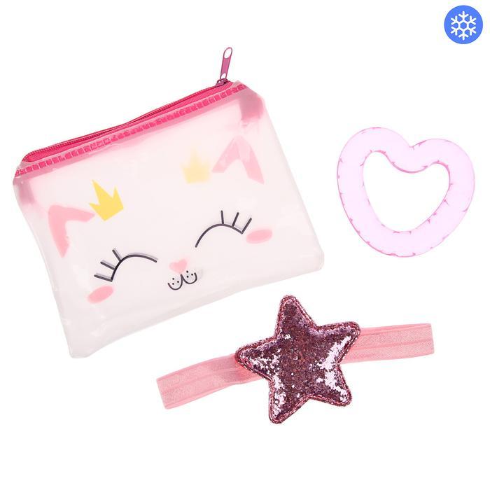 Детский набор «Для Малышки», 2 предмета: повязка на голову, прорезыватель охлаждающий