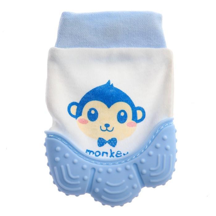 Прорезыватель рукавичка «Обезьянка Манки», цвет синий