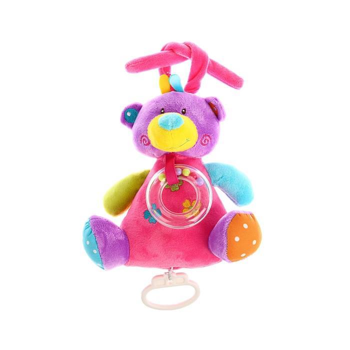 Подвеска-игрушка музыкальная «Мишка» с погремушкой
