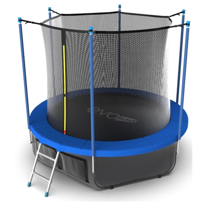 Батут с внутренней сеткой и лестницей, диаметр 10ft (синий) + нижняя сеть EVO JUMP Internal 10ft (Sk