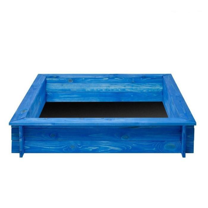 Песочница деревянная «Одиссей», 110 х 110 х 25 см., 4 лавки, подложка, цвет синий