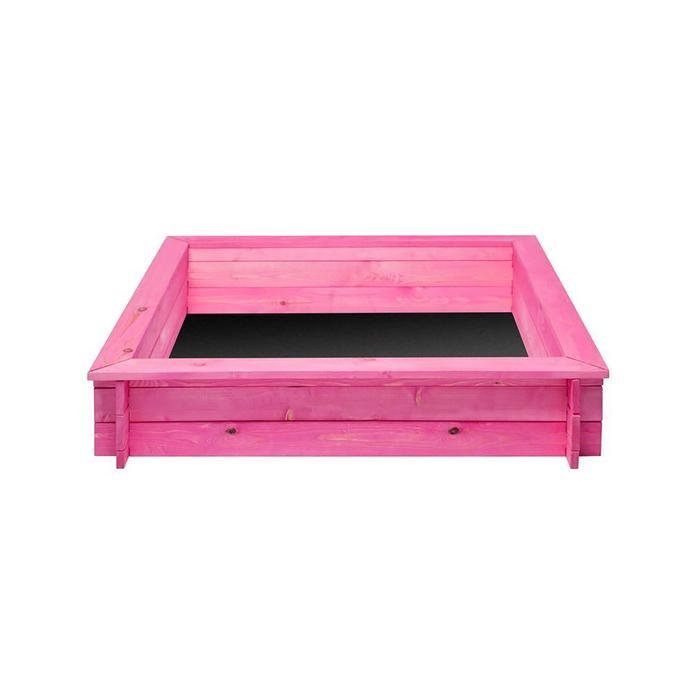 Песочница деревянная «Афродита», 110 х 110 х 25 см., 4 лавки, подложка, цвет розовый