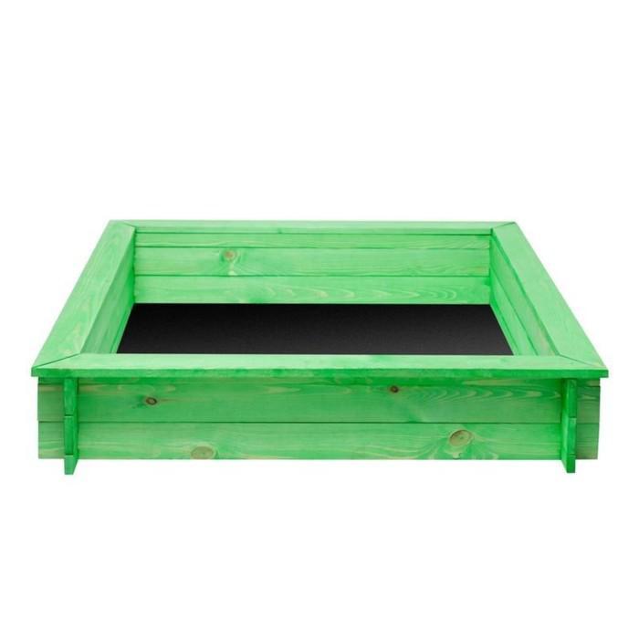 Песочница деревянная «Клио», 110 х 110 х 25 см., 4 лавки, цвет зелёный