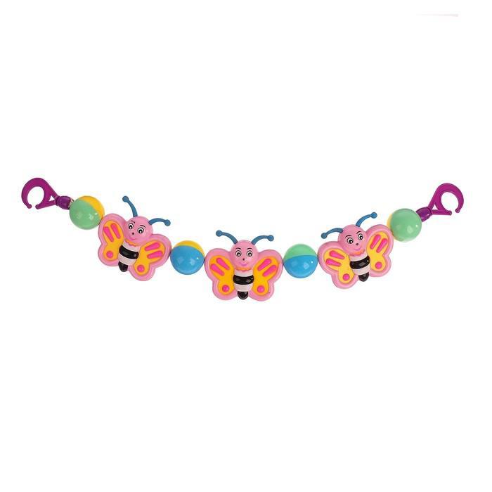 Подвеска на коляску/кроватку «Бабочки», цвета МИКС