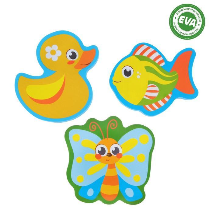 Набор игрушек для ванны «Уточка и друзья»: наклейки из EVA, 3 шт.