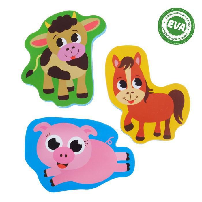 Набор игрушек для ванны «Ферма»: наклейки из EVA, 3 шт.