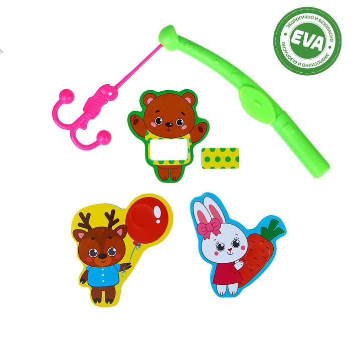 Набор игрушек для ванны «Лучшие друзья»: наклейки из EVA, 3 шт. + удочка