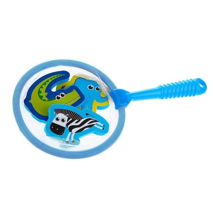 Игрушки для купания «Африка»: наклейки из EVA, 3 шт. + сачок