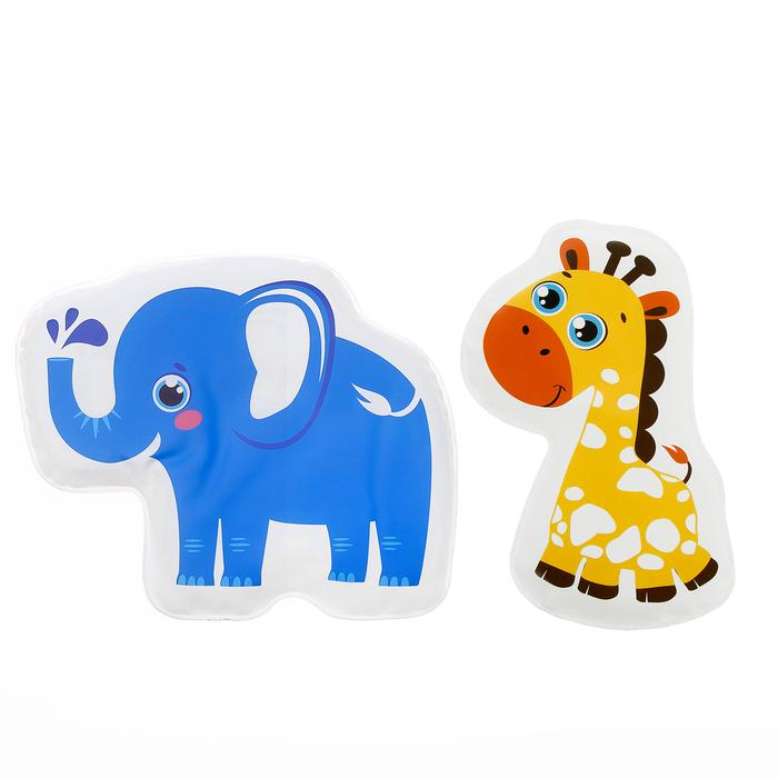Набор игрушек для ванны с пищалкой «Жирафик и слоник», 2 шт.