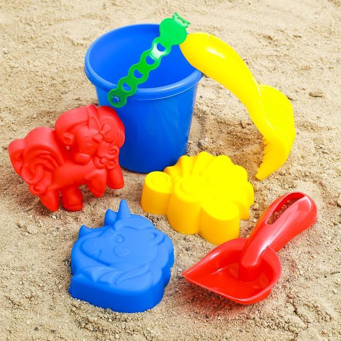 Набор для игры в песке №44: ведёрко, 3 формочки, грабельки, лопатка