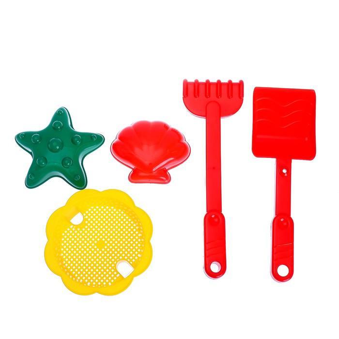 """Песочный набор """"Тачанка"""" 6 предметов: тележка, лопатка, грабли, сито, 2 формочки"""