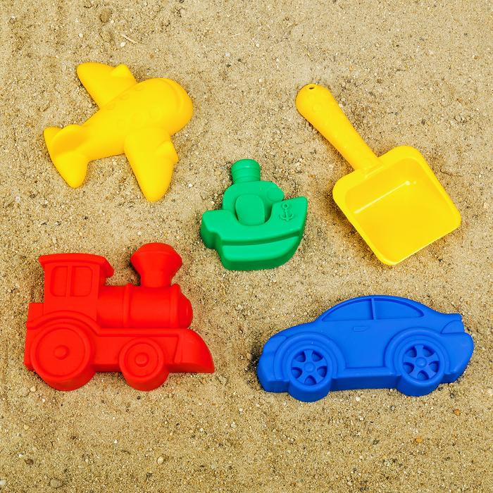 Набор для игры в песке №104: 4 формочки, совок с камешками