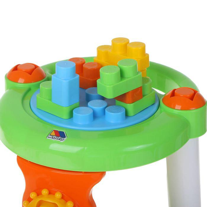 Каталка-столик с конструктором, 13 элементов, цвет зелёный