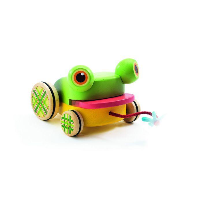Игрушка-каталка на верёвочке «Лягушка»