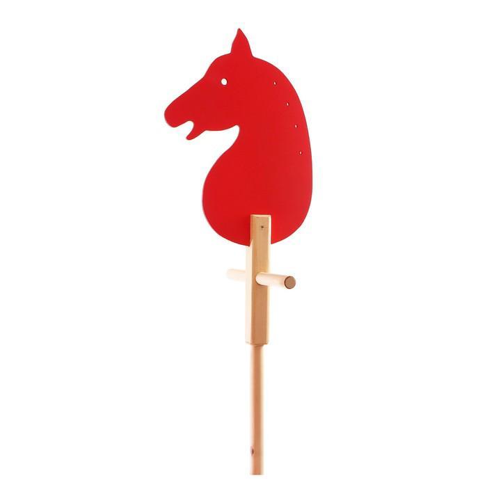 """Коняша-лошадка деревянная """"Красная"""", с ручкой"""