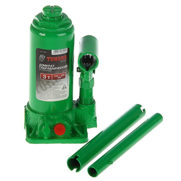 Домкрат гидравлический бутылочный TUNDRA basic в кейсе, 3 т, высота подъема 175-335 мм