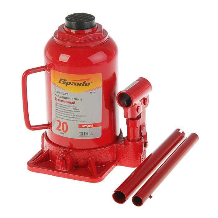 Домкрат гидравлический SPARTA Compact, 20 т, бутылочный, подъем 215–405  мм