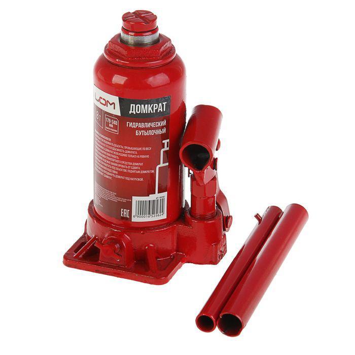 Домкрат гидравлический бутылочный LOM 8 т, высота подъема 178-348 мм