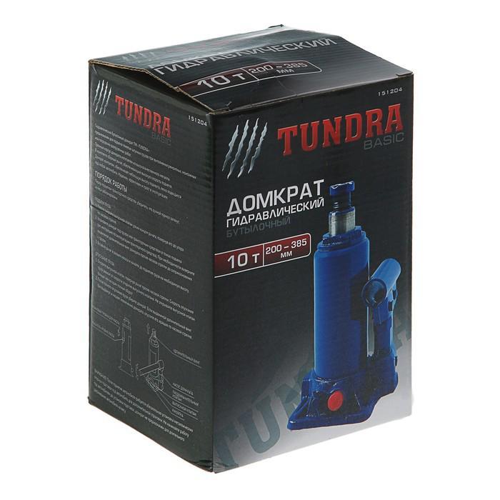 Домкрат гидравлический бутылочный TUNDRA basic 10 т, высота подъема 200-385 мм