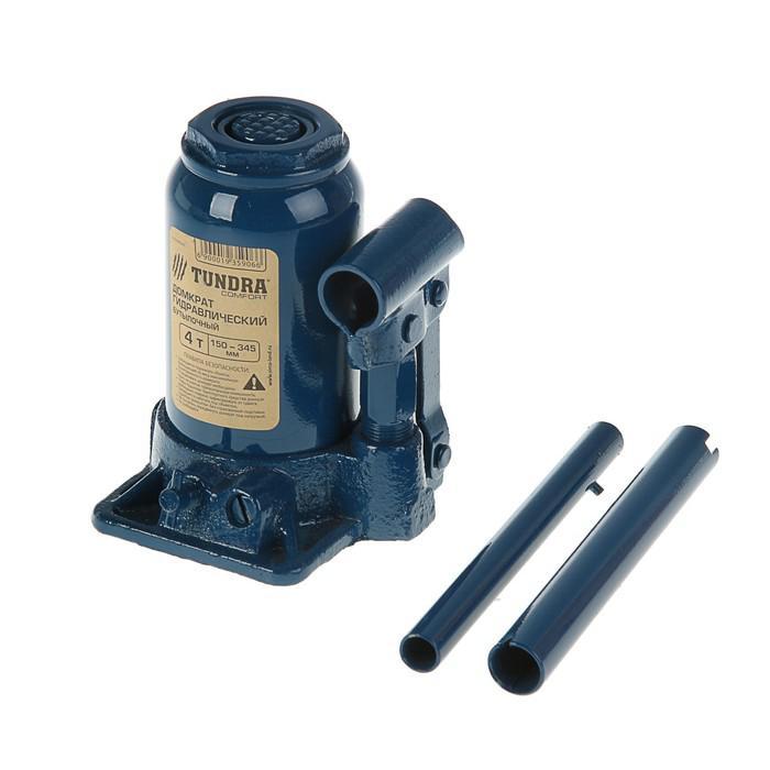 Домкрат гидравлический бутылочный TUNDRA comfort 4 т, телескопический 150-345 мм