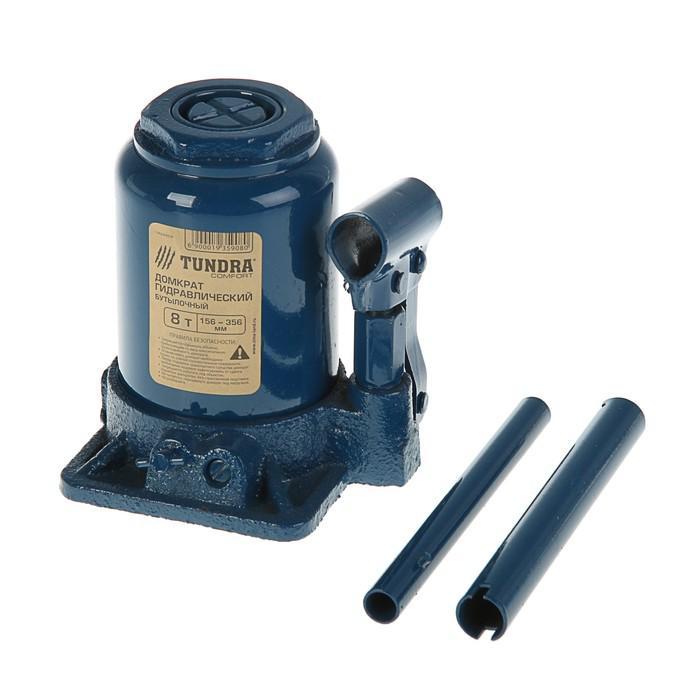 Домкрат гидравлический бутылочный TUNDRA comfort 8 т, телескопический 156-356 мм