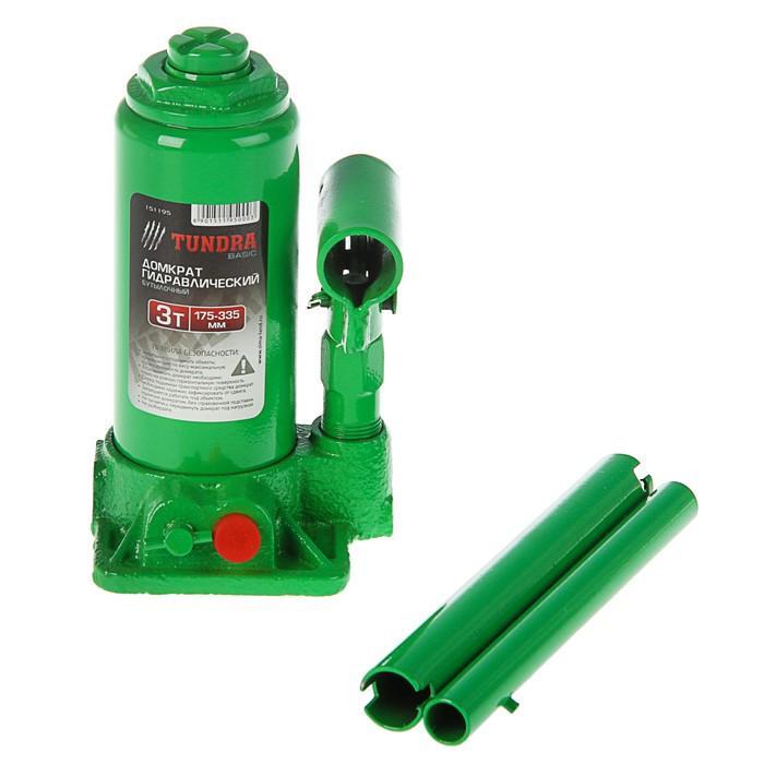 Домкрат гидравлический бутылочный TUNDRA basic 3 т, высота подъема 175-335 мм
