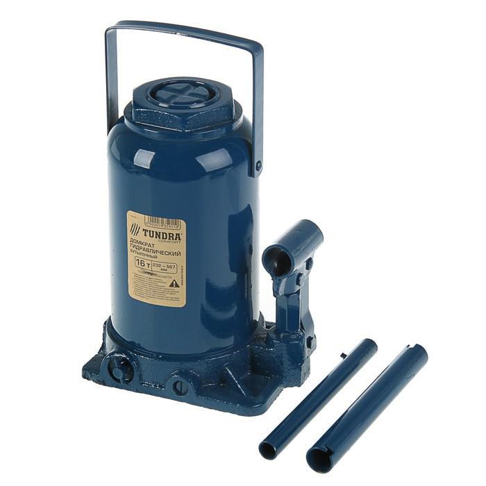 Домкрат гидравлический бутылочный TUNDRA comfort 16 т, телескопический 232-567 мм