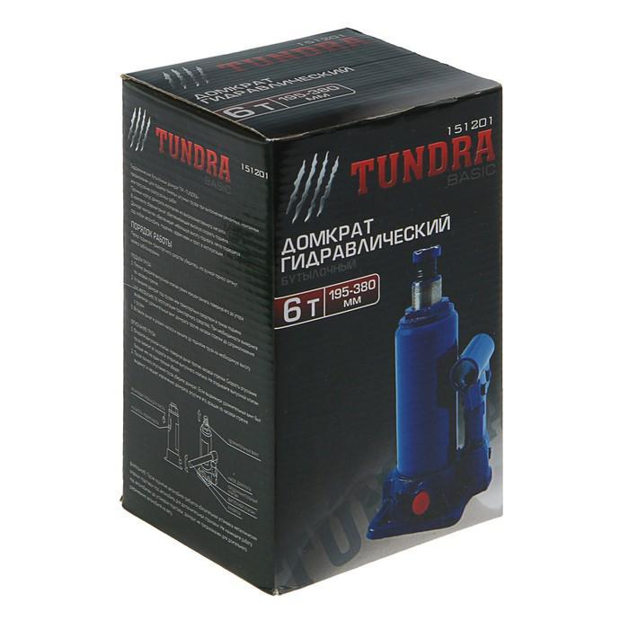 Домкрат гидравлический бутылочный TUNDRA basic 6 т, высота подъема 195-380 мм