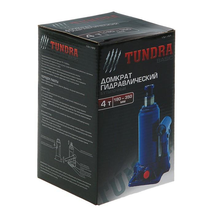Домкрат гидравлический бутылочный TUNDRA basic 4 т, высота подъема 180-350 мм
