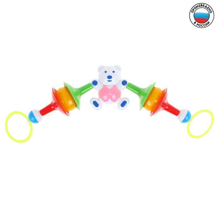 Погремушка-подвеска «Мишка-штангист», цвета МИКС