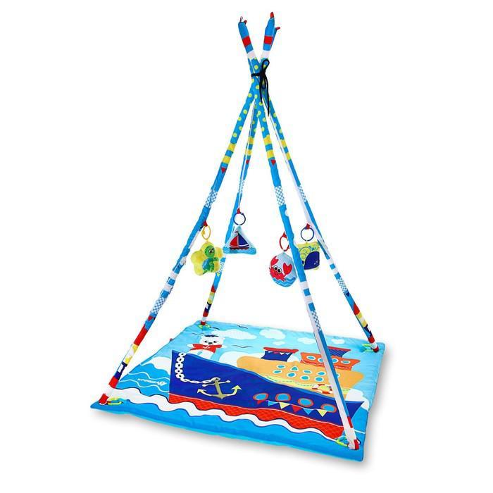 Развивающий коврик-вигвам «Морское приключение», с дугами, 4 игрушки, размер 100х100 см