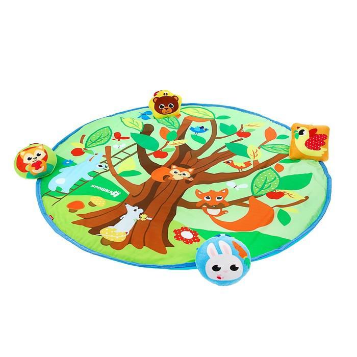 Развивающий коврик «Кто живёт в лесу», 4 игрушки, диаметр 80 см