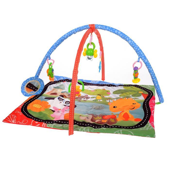 Развивающий коврик с дугами «Панда и друзья», 5 игрушек + безопасное зеркальце