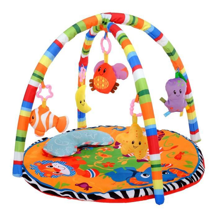 Развивающий коврик с дугами «Зоо», 5 игрушек, с подушечкой