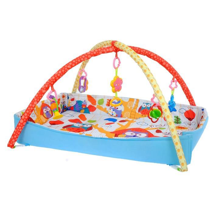 Развивающий коврик с дугами «Совушкин дом», 5 игрушек, с бортиками, музыкальная игрушка