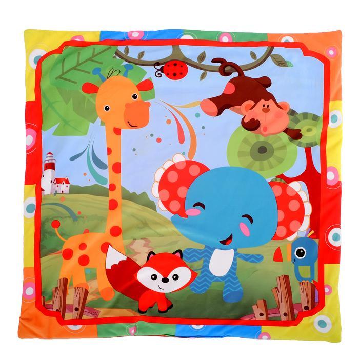 Развивающий коврик с дугами «Слоник и друзья», 5 игрушек, с подушечкой, музыкальная игрушка