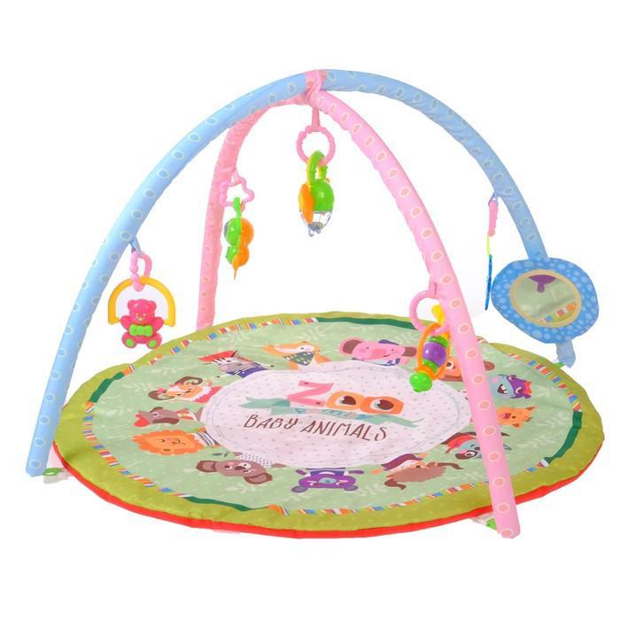 Развивающий коврик с дугами «Весёлые животные», 5 игрушек + безопасное зеркальце