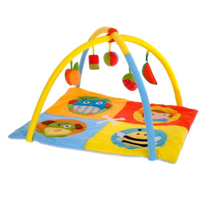 Коврик развивающий с дугами «Зоомир», 5 игрушек