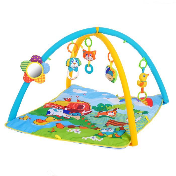 Коврик развивающий с дугами «Ферма», 4 игрушки + безопасное зеркальце