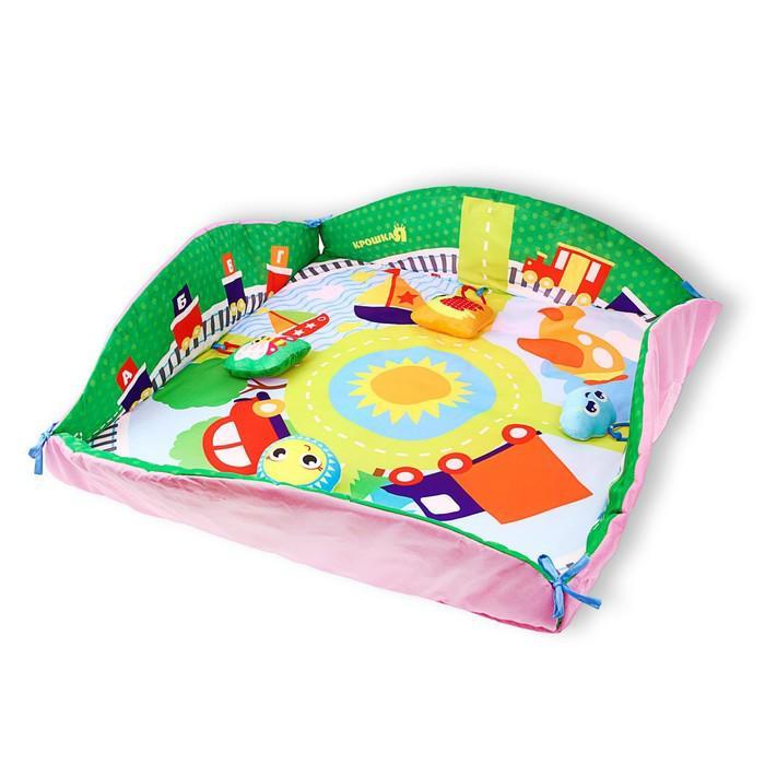 Развивающий коврик с бортиками «Транспорт», 4 игрушки, диаметр 85 см