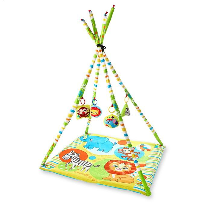 Развивающий коврик-вигвам «Африка», с дугами, 4 игрушки, размер 100х100 см