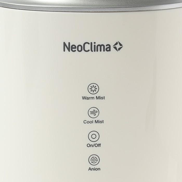Увлажнитель NeoClima NHL-4.0, холодный/теплый пар, 30/100 Вт, 4 л, арома, ионизац, белый