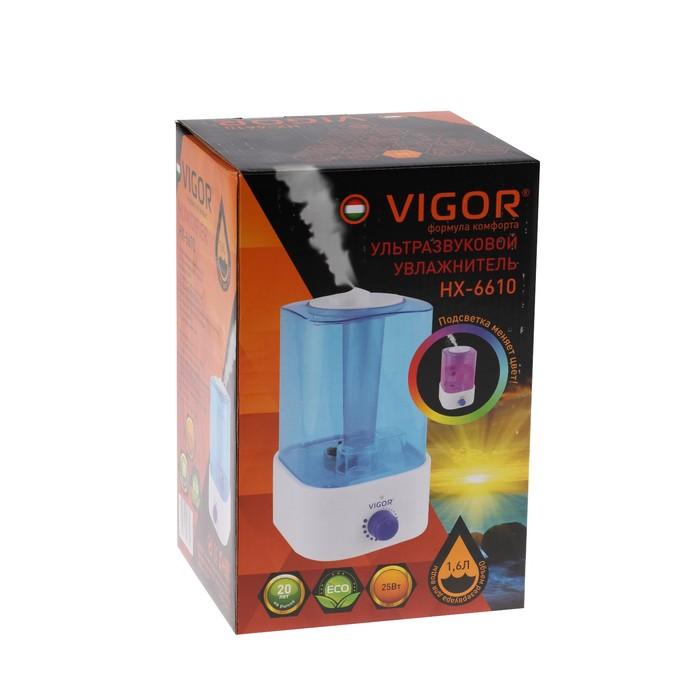 Увлажнитель воздуха Vigor HX-6610, ультразвуковой, 22 Вт, 1.6 л, синий